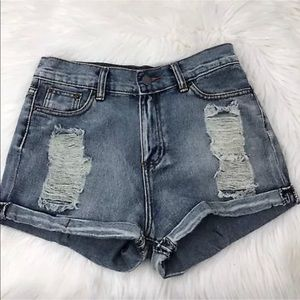 POL | jean distressed shorts